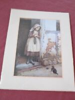 "C E Wilson Art Print Girl W Cat 8"" x 10"" Cottage Framed Glass Vintage Kitten"