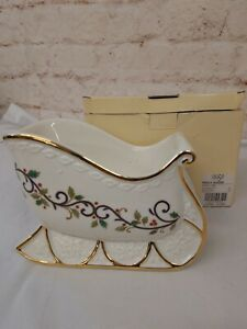 Mikasa Christmas Holly Sleigh Bowl Centerpiece Candy Dish with Box