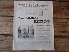 RARE - DEPLIANT MAISON EGROT PARIS ALAMBICS EGROT DISTILATION ALCOOL 1912