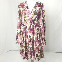 Women's Size Medium Leith Vintage Floral Print Perfectly Pleated Dress