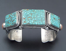 "Darryl Becenti  Sterling Silver Kingman Turquoise  Bracelet 1 1/4"" Wide"