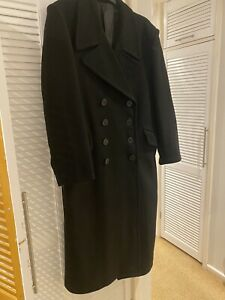 Black Navy Wool Great Coat - Winter Trench Naval Military Full Length Mens