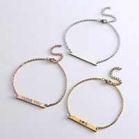 Stainless Steel Personalized Engraved Custom Name Bar Bracelet Chain Bangle Gift