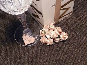 Personalised Wooden Wine Glass Charms:  Hen's, Brides, Favours, Weddings, Shabby
