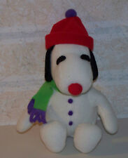 SNOOPY BEAGLE DOG WINTER ATTIRE BABY RATTLE STUFFED TOY