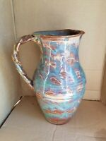 "Windsong Pottery Turquoise/Brown Glaze Braided Handle 10 1/2"" Pitcher Signed"