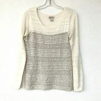 LUCKY BRAND Women's Sz Small Cream/Ivory Cotton Wool Knit Sweater Pull-Over Top