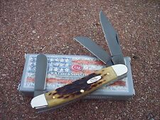 CASE XX * ANTIQUE BONE 47 STOCKMAN W/BLACK PVD COATED BLADES KNIFE KNIVES