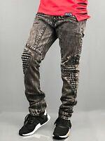 Mens ripped slim Biker Zipper pants Jeans distressed jeans