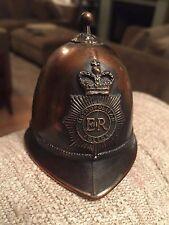Vintage London ER Metropolitan Police Figural Bobby Hat Helmet w/ Metal Bell