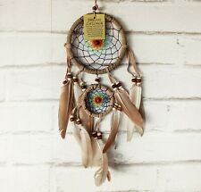 Rainbow rope colors-natural beige rope dream catcher with beige feathers-1QTY