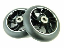 Owlsome 110mm Aluminum Core Scooter Wheels Black (Set of 2) w/ ABEC 7 Bearings