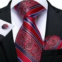 Mens Red Paisley Striped Silk Tie Set Necktie Pocket Square Cufflinks Wedding