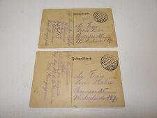 2 Feldpostkarten Soldaten-Brief gelaufen Frankreich - Bremen 1915 Unikate K2