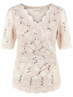 ex Jacques Vert Nude Champagne Stretchy Lace Cross Occasion Party Top