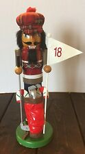 Golf Candy Cane 18 Plaid Red Cap Wooden Nutcracker Holiday Decoration