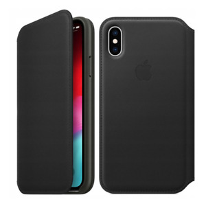 Genuine Apple Leather Folio Wallet Case for iPhone X - MQRV2ZM/A - Black- New