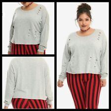 Hot Topic Womens/Juniors Sweatshirt Heather Grey Destructed Crop Plus Size 1X