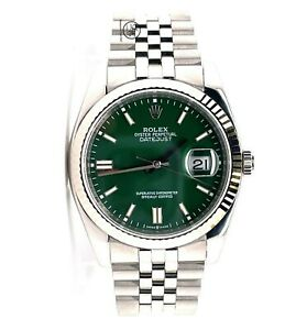 Rolex Datejust 116234 18K White Gold Bezel Green Dial Jubilee Steel Watch *MINT*