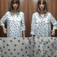 Ex Store Ladies Bee Print Swallow Bird Shirt Blouse Size 6 - 22