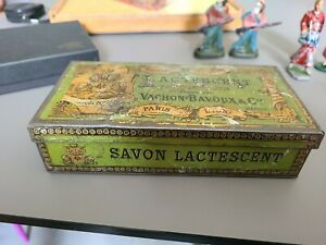 Boîte à savon en tôle lithographiée LACTESCENT Paris Lyon Médaille d'Argent 1889