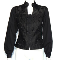 ANNE FONTAINE Black Embroidered Floral High Collar Button Blouse Top sz 1 /3975