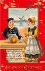 1914 Dutch Boy & Girl Halloween Greetings post card as is