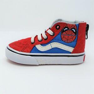 Vans Marvel Comics Spider Man Red Blue SK 8-Hi Zip Shoes Size 5.5 Toddler