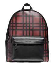 Coach F11164 Men's Charles Wild Plaid Print Crimson Backpack Laptop Bag $550