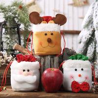 1X Christmas Kids Gift Candy Bags Santa Claus Snowman Elk Storage Bag Xmas Decor