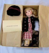 """Boyds Bears Doll Porcelain 16"""" Brittany With Bear and Stand Yesterday's Child"""