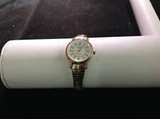 Acqua Round Face Silver and Gold Tone Stretch Band Wrist Watch 2 in Diameter