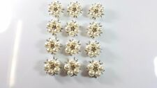 12pcs Brooch Pin Girl's Pearl Flowers with Rhinestones Breastpin for Wedding
