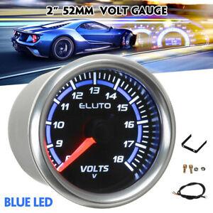 """ELUTO  2"""" 52mm Blue Led Pointer Voltmeter Voltage Volt 8-18v Gauge Car Meter"""