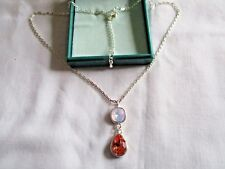 SILVER COSTUME PEACH OPALITE CRYSTAL PENDANT  NECKLACE