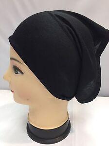 2x New Black Under Hijab Tube Bonnet Cap