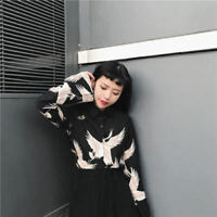Women Japanese Style Crane Print Long Sleeve Black Shirt Loose Fit Blouse 1 PC