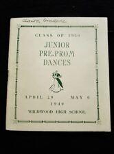 1949 Junior Pre-Prom Dances Class 1950 Vintage Pamphlet, Local Ads: WILDWOOD, NJ
