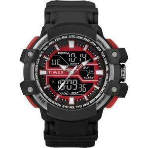 Timex TW5M22700, Tactic DGTL Black Resin Watch, Indiglo, Day/Date, Alarm