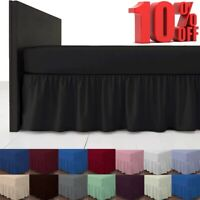 Non iron Fitted Valance Sheet Plain Dyed Poly Cotton Bed Skirts Single Double UK