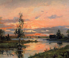 Sunset  by Julius Klever  Giclee Canvas Print Repro