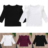 New Newborn Toddler Baby Girls Long Sleeve Ruffles Tops Solid T Shirts Clothes