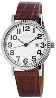 Noble Herrenuhr Weiß Braun Analog Datum Kunst-Leder Armbanduhr D-200722000022
