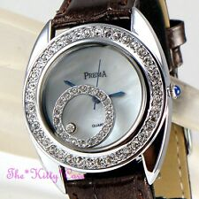 Silver Rhodium Plt Ladies Bling MOP Leather Watch w/ Floating Swarovski Crystals
