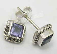"""925 Solid Silver Natural IOLITE Gemstone Traditional Studs Post Earrings 0.3"""""""