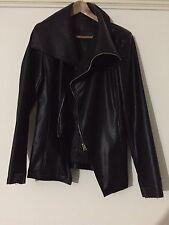 Unisex faux leather turtle neck asymetric jacket Rick Owens style