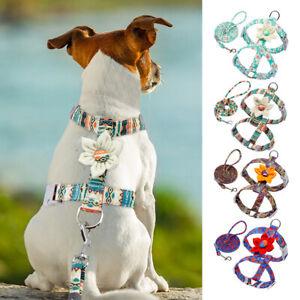 Small Medium Dog Nylon Strap Harness and Leash set Pet Puppy Flower Walking Vest