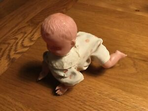 Vintage Clockwork Crawling baby Doll Working