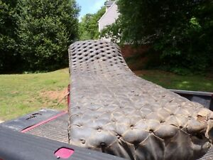 VINTAGE 1800'S TIGER OAK FAINTING COUCH  /CHAISE LOUNGE WITH APPLIED DOLPHINS