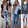 femme destroy déchiré Jeans fin pantalon taille haute skinny style